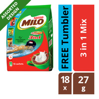 Milo 3 in 1 Instant Chocolate Malt Drink - Regular + Tumbler