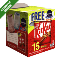 Nestle Kit Kat 2 Fingers Chocolate Bars + Free Glass Jar