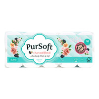 PurSoft Bathroom Tissue Roll - Charcoal Floral (3ply)