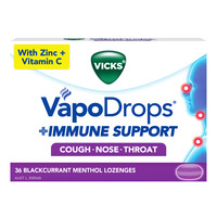 Vicks VapoDrops + Immune Support Lozenges - Blackcurrant