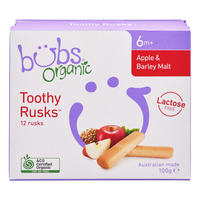 Bubs Organic Baby Toothy Rusks - Apple & Barley Malt
