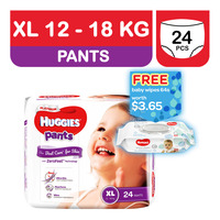 Huggies Platinum Pants - XL (12 - 18kg) + Baby Wipes