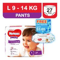 Huggies Platinum Pants - L (9 - 14kg) + Baby Wipes