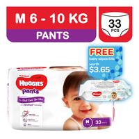 Huggies Platinum Pants - M (6 - 10kg) + Baby Wipes