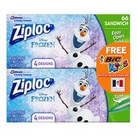 Ziploc Sandwich Bags - Frozen + BiC Kids Wax Crayons