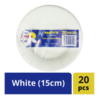 Party's Disposable Paper Plates - White (15cm)