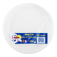 Party's Disposable Plastic Plates - White (23cm)