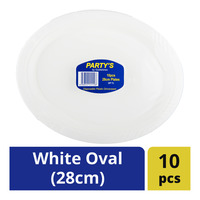 Party's Disposable Plates - White Oval (28cm)