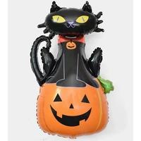 Aluminum Film Balloon - Black Cat with Pumpkin