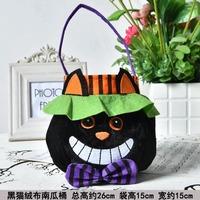 Flannel/Cloth Halloween Candy Handbag - Black Cat
