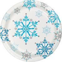 Creative Converting Snowflake Swirls 7 Inch Lunch Plates