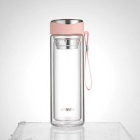 Haers Glass Double Wall Water Bottle Pink