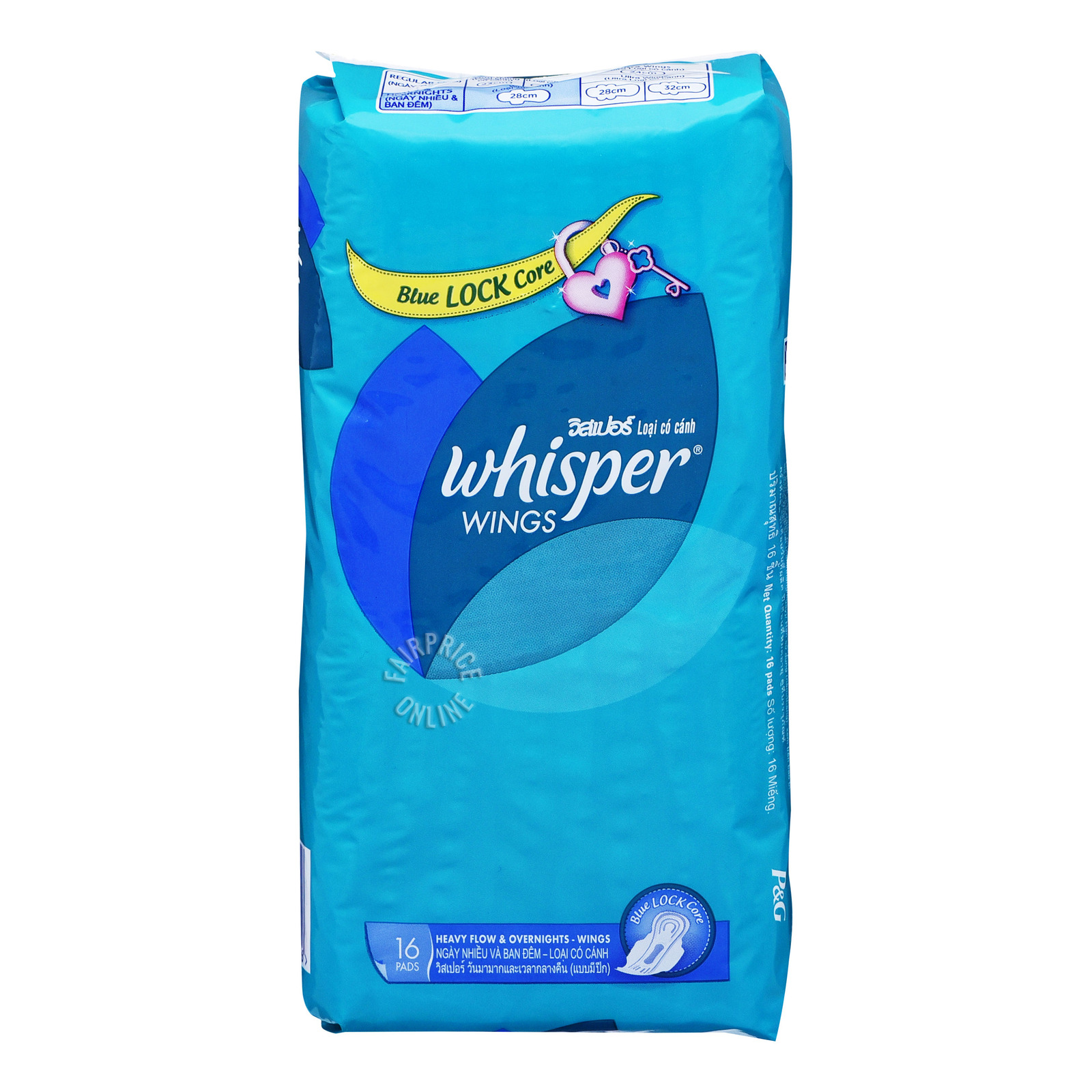 Whisper Wings Blue Lock Care Pads - Heavy Overnight (28cm)