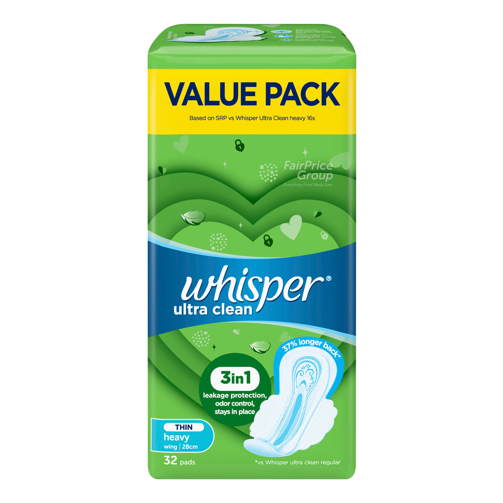 Whisper Ultra Clean Wing Pads - Normal/Heavy Day (28cm)