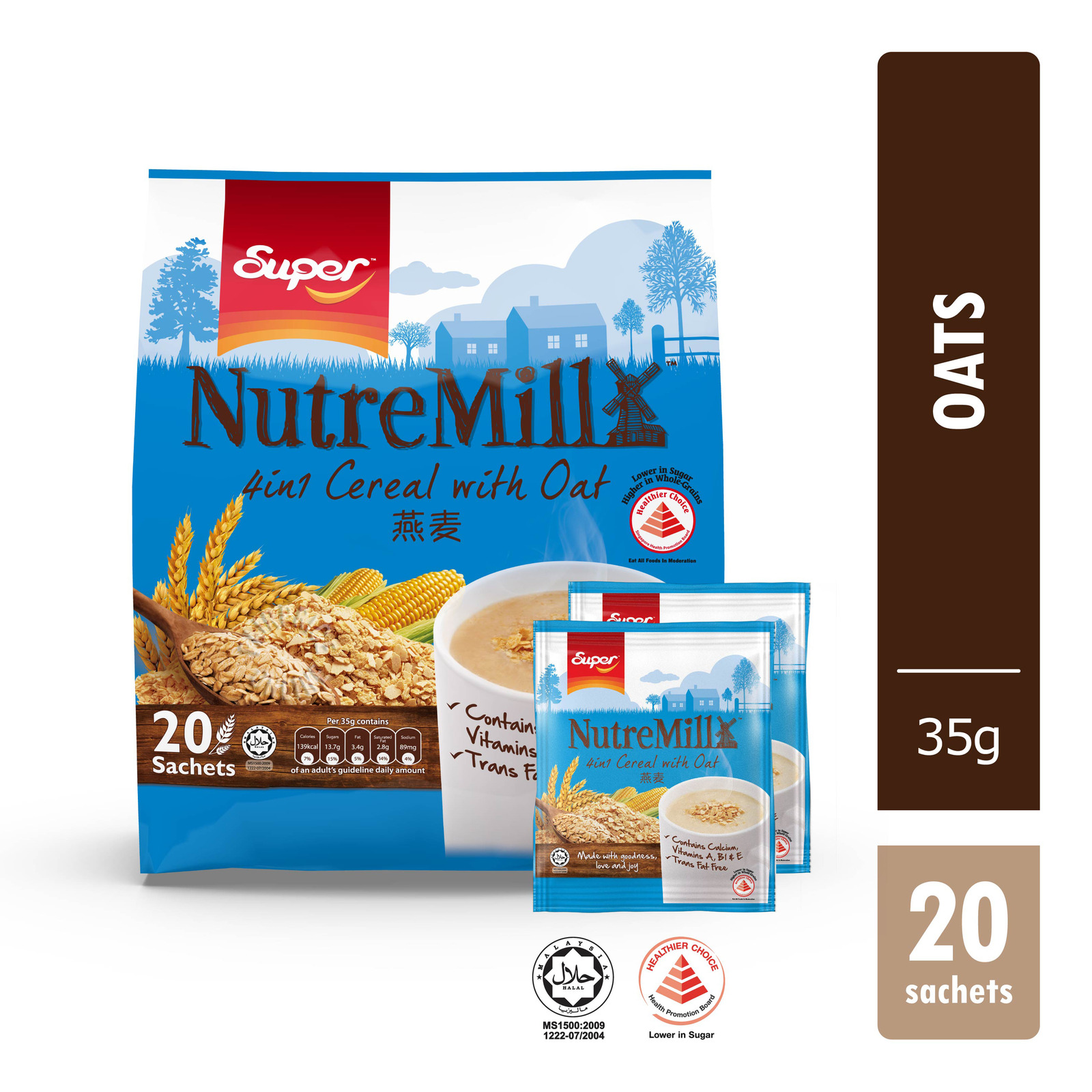SUPER Instant Cereal With Brown Rice NutreMill 4-In-1 20sX30g