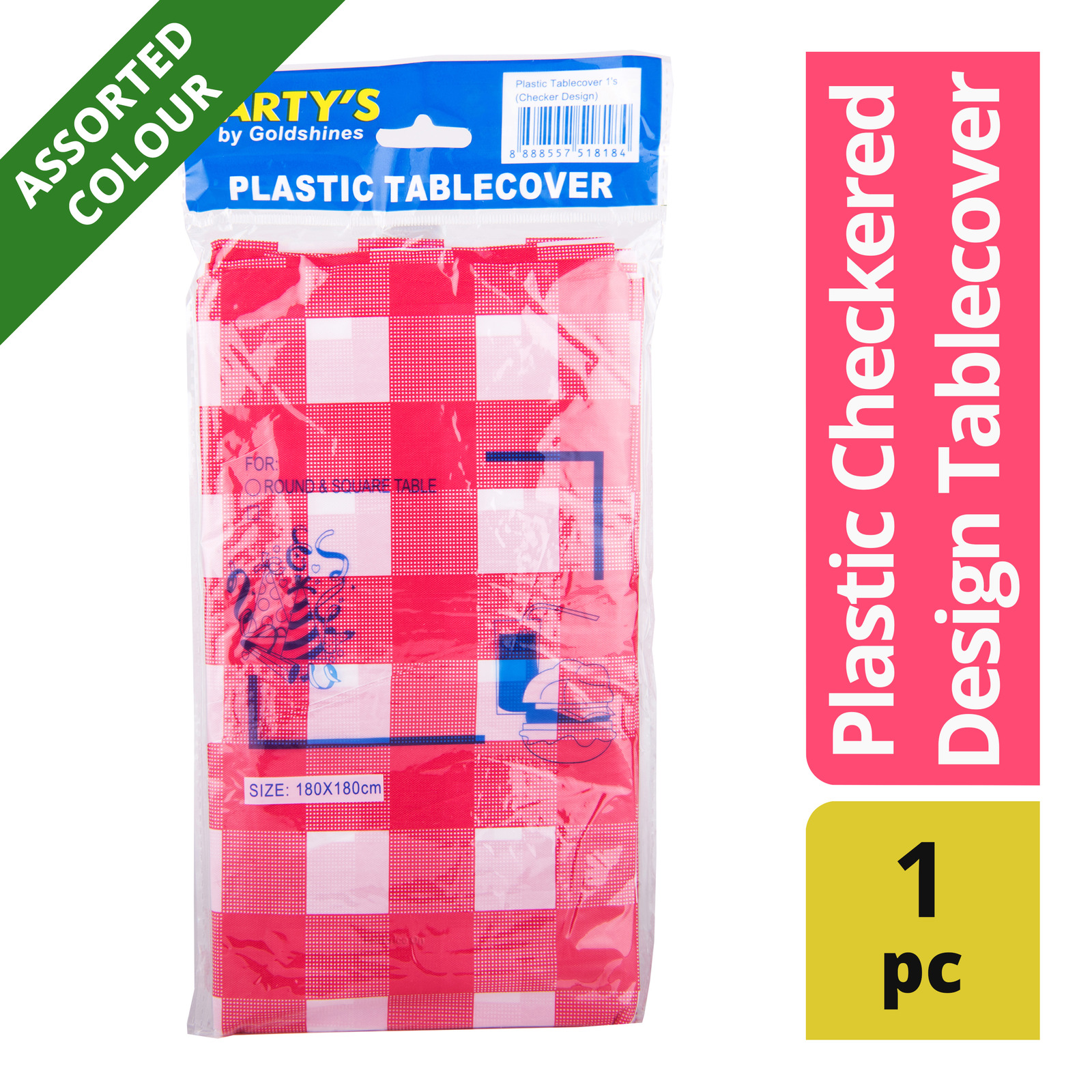Party's Disposable Plastic Checkered Design Tablecover
