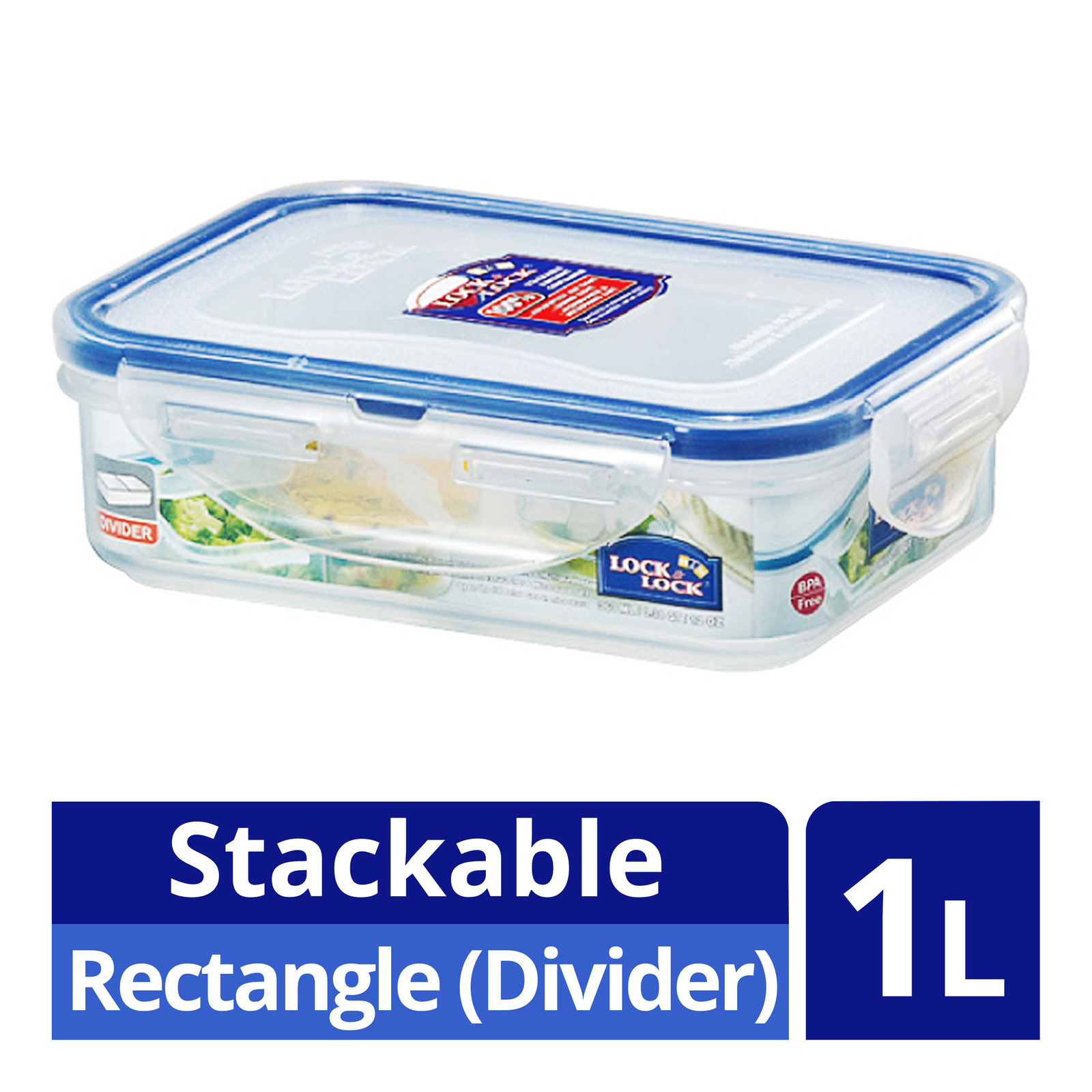 Lock & Lock Stackable Airtight Container - Rectangle (Divider)