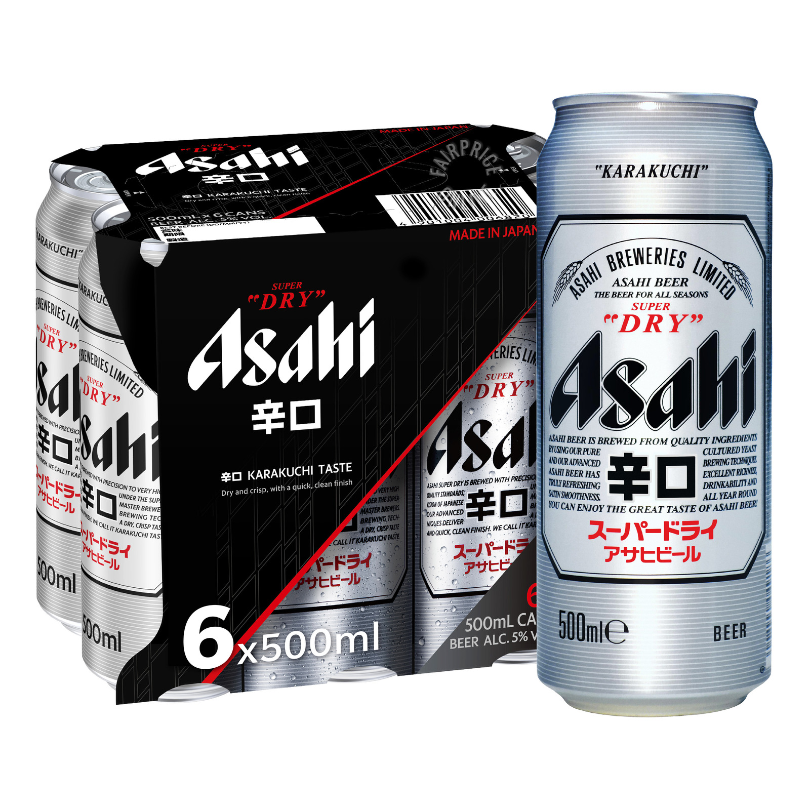 ASAHI Super Dry Draft Beer 6sX500ml