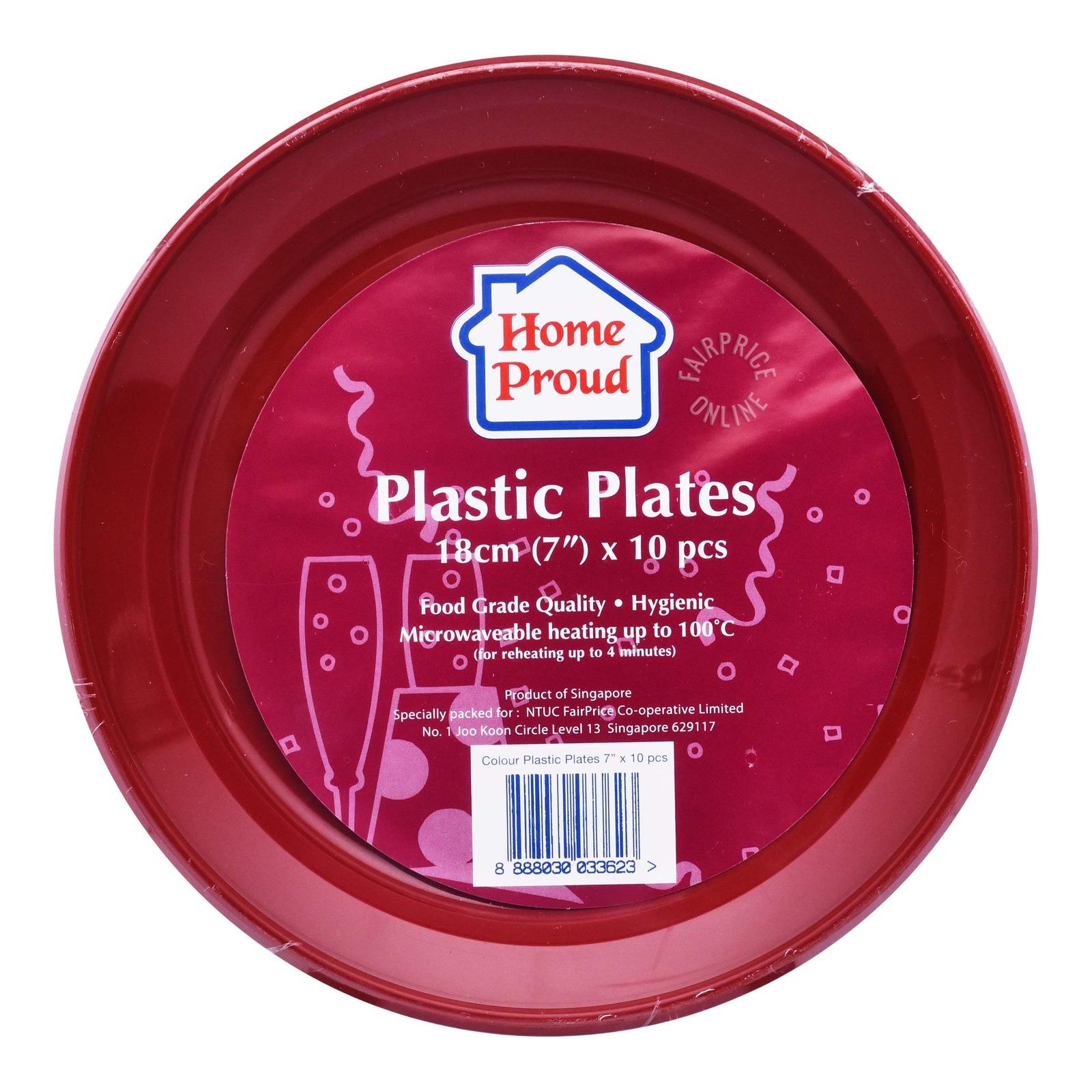 HomeProud Plastic Plates - Assorted Colour (18cm)