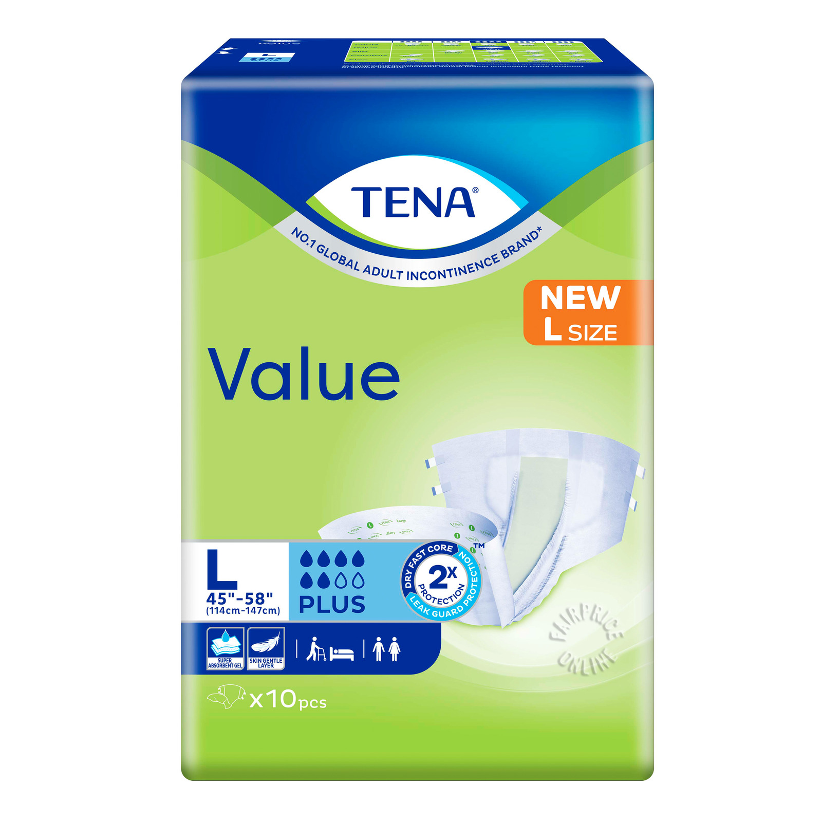TENA Value Unisex Adult Diapers - L (114 - 147cm)