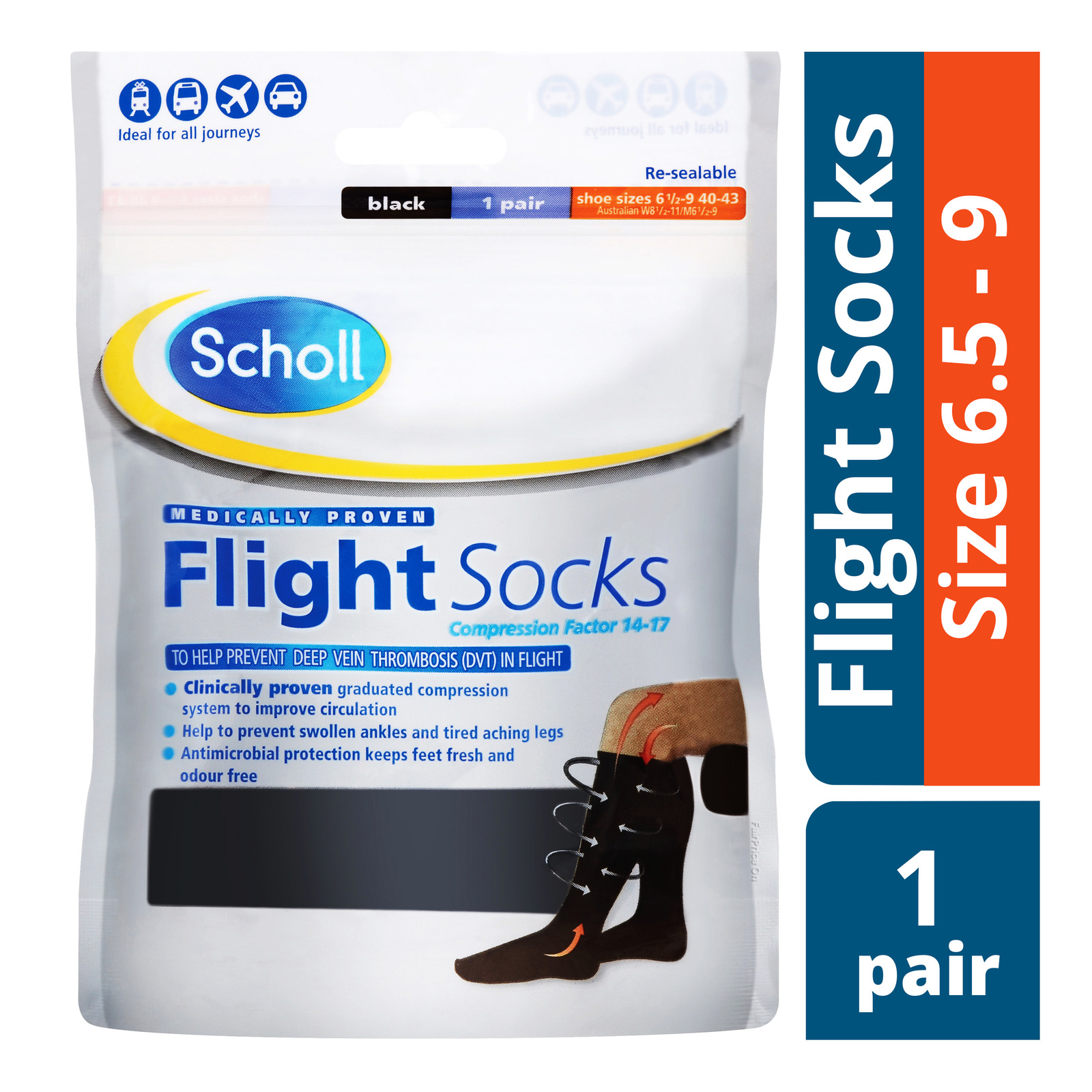 Scholl Flight Socks - Size 6.5 - 9