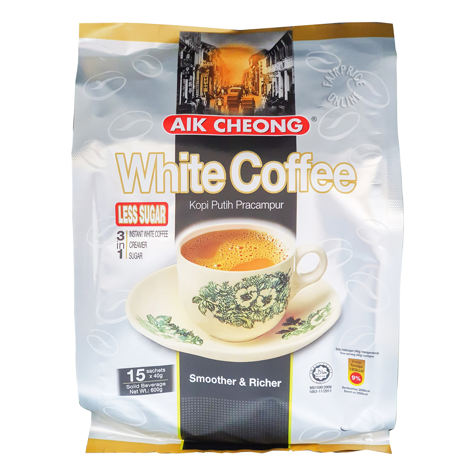 Aik Cheong 3 in 1 Instant White Coffee - Tarik (Less Sugar)