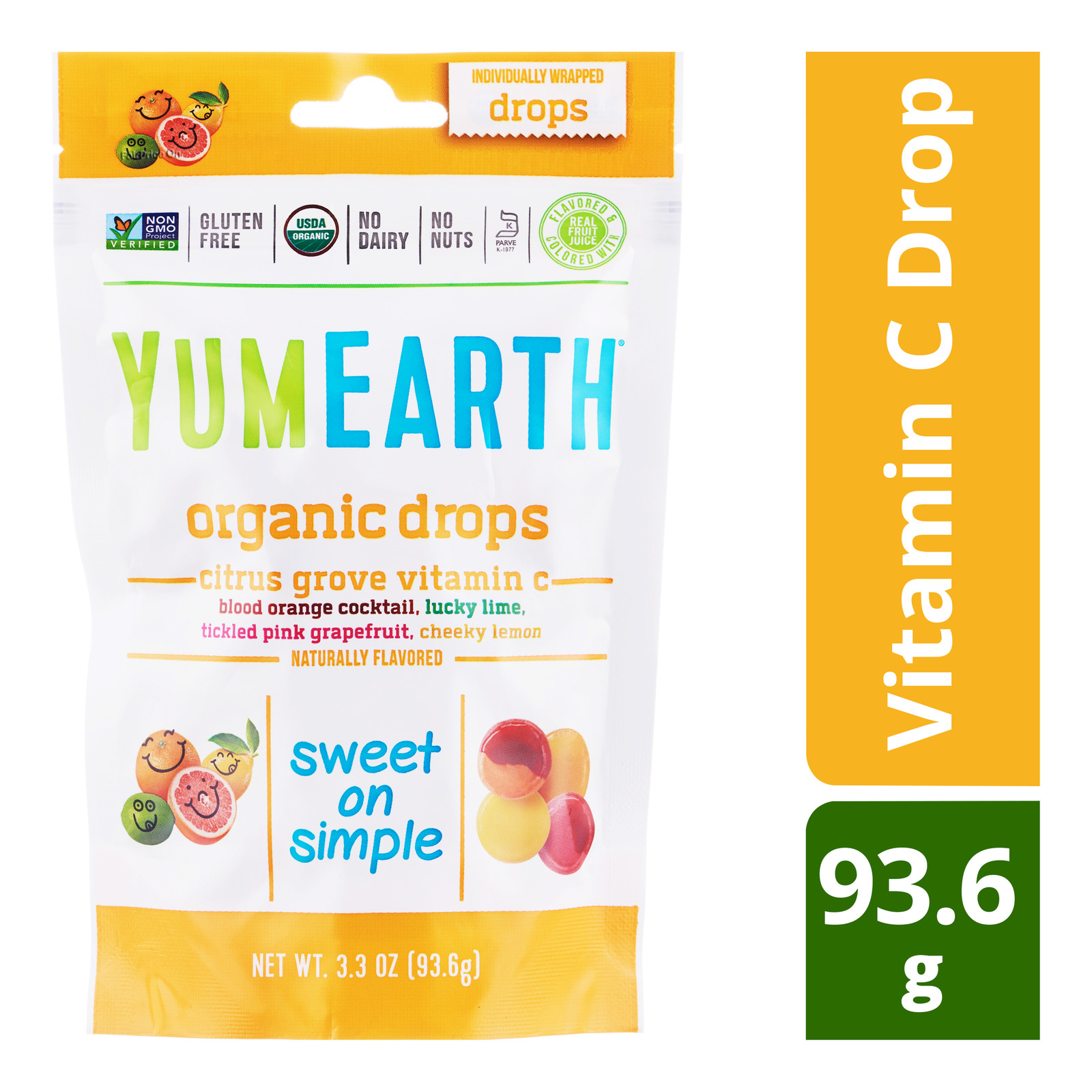 Yum Earth Organics Hard Candies - Vitamin C Drop