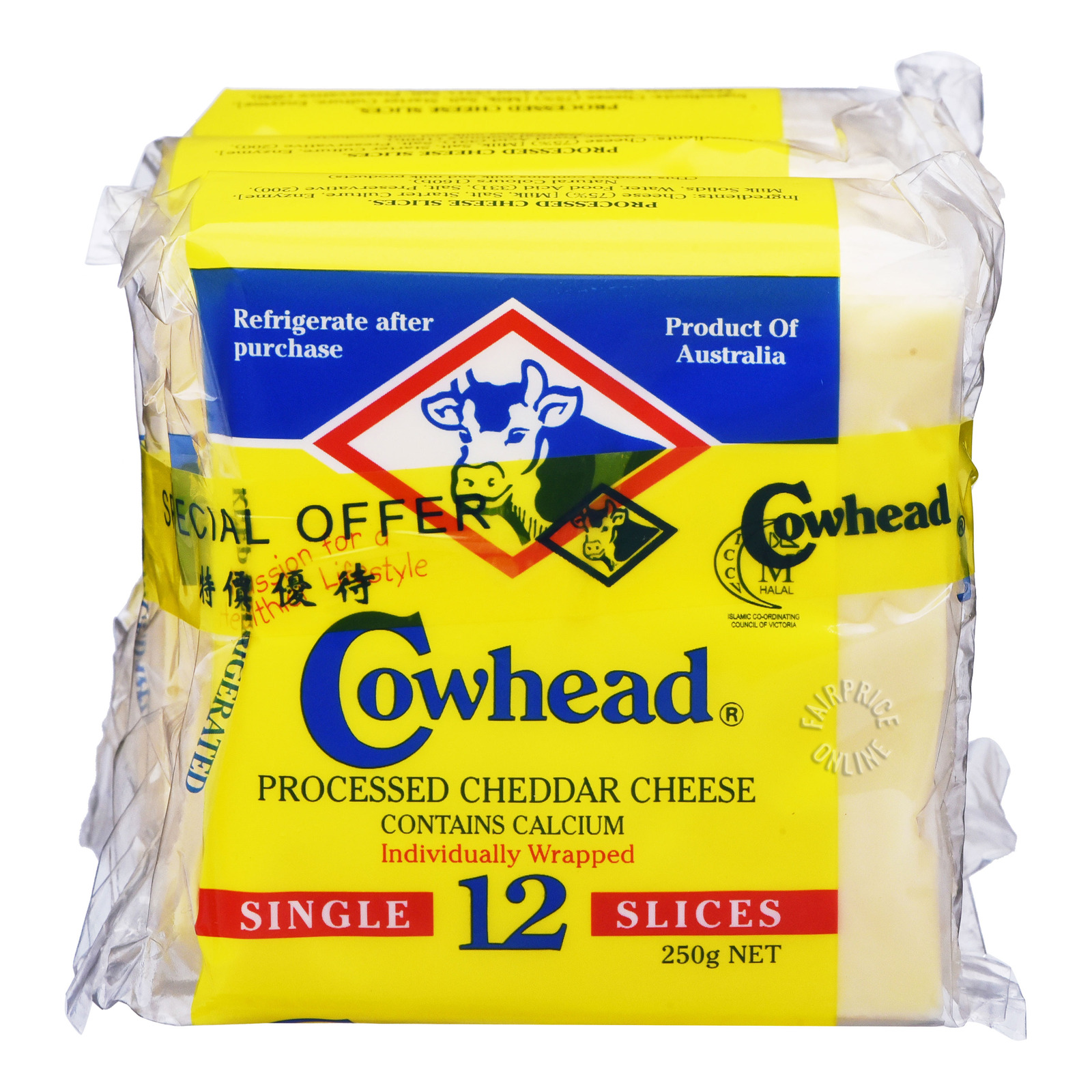 COWHEAD Cheddar Cheese Slices 3sx12s