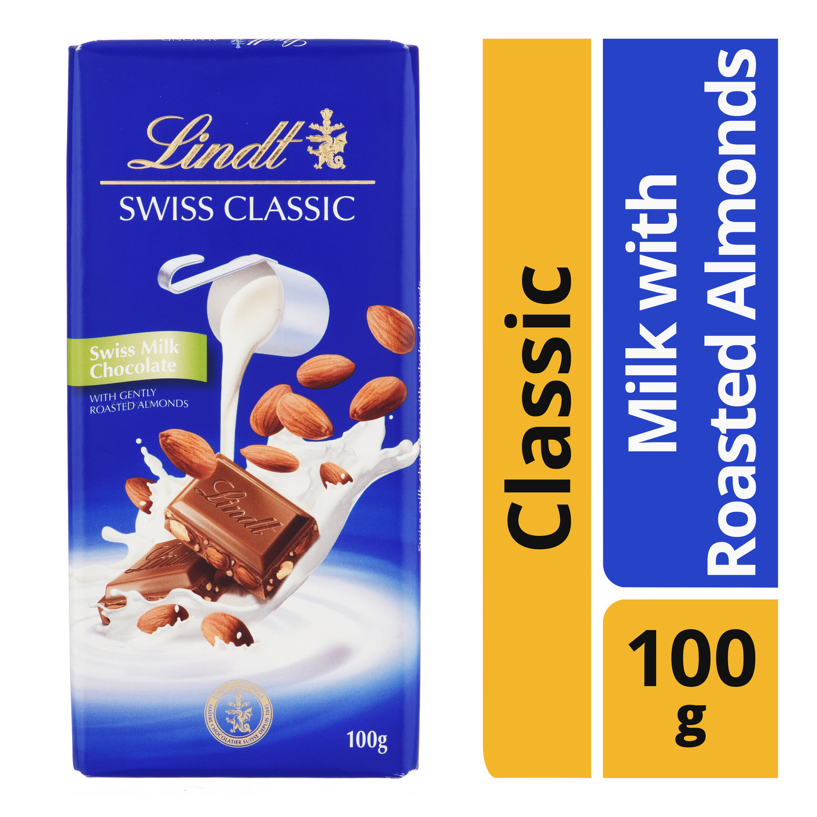 Lindt Swiss Classic Chocolate Bar - Milk with Roasted Almonds