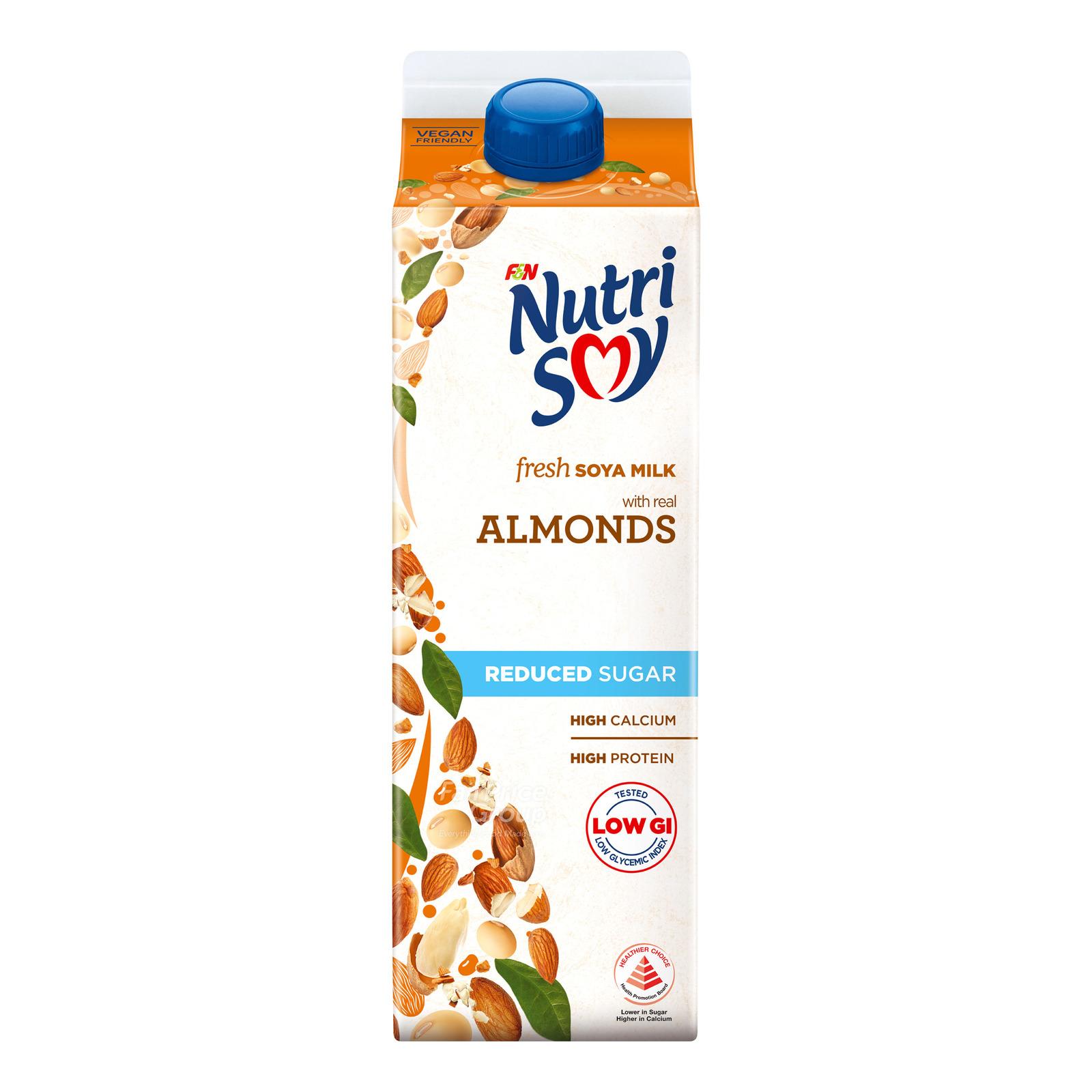 F&N NutriSoy High Calcium Fresh Soya Milk - Almond (Reduced Sugar)