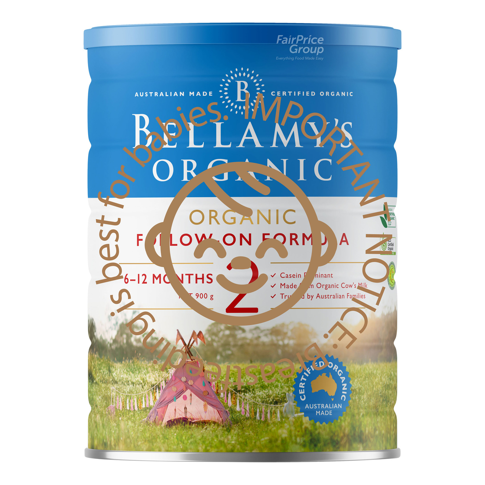 BELLAMYS ORGANIC organic step 2 follow on formula 900g