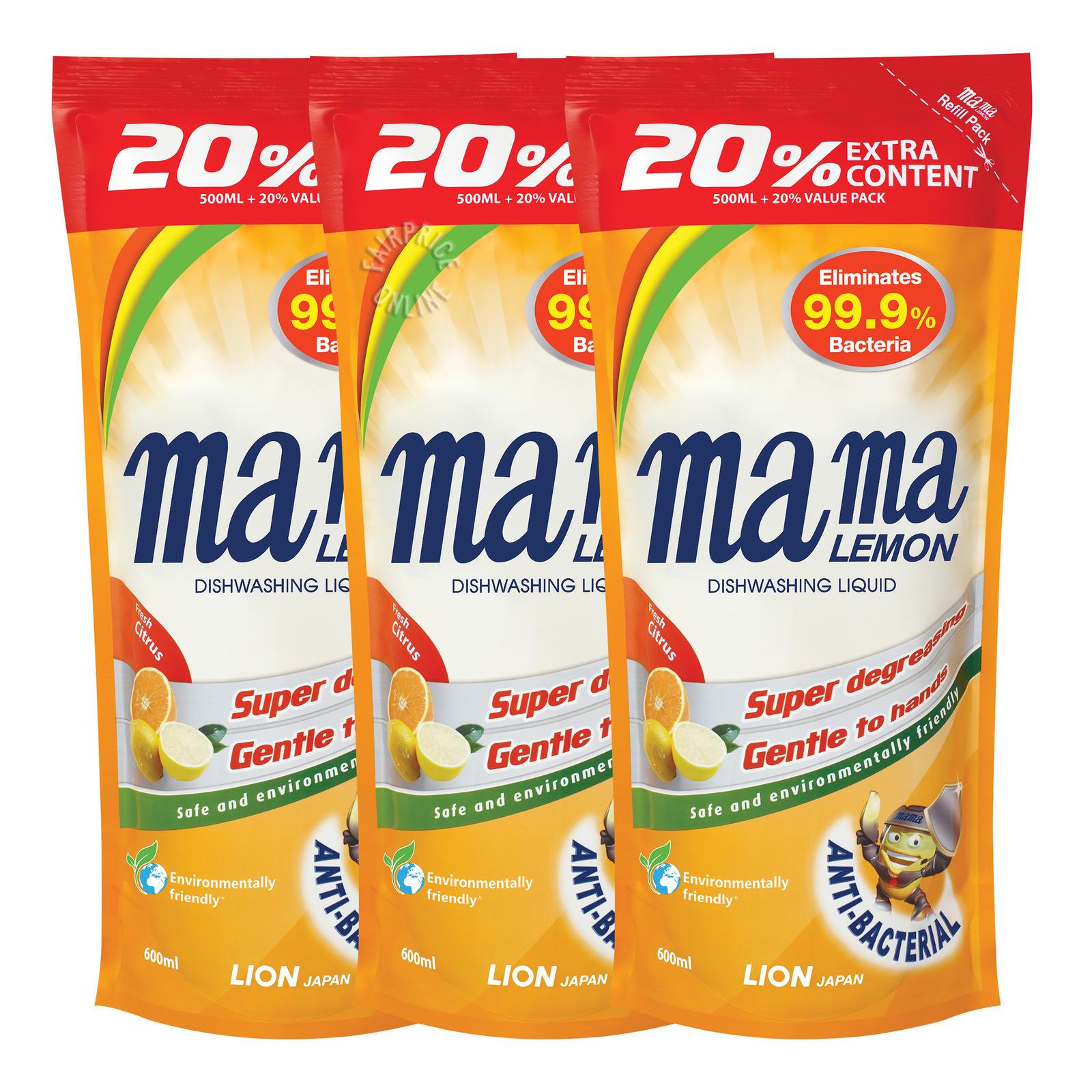 MAMA LEMON Dishwashing Liquid Refill Citrus 3sX600ml