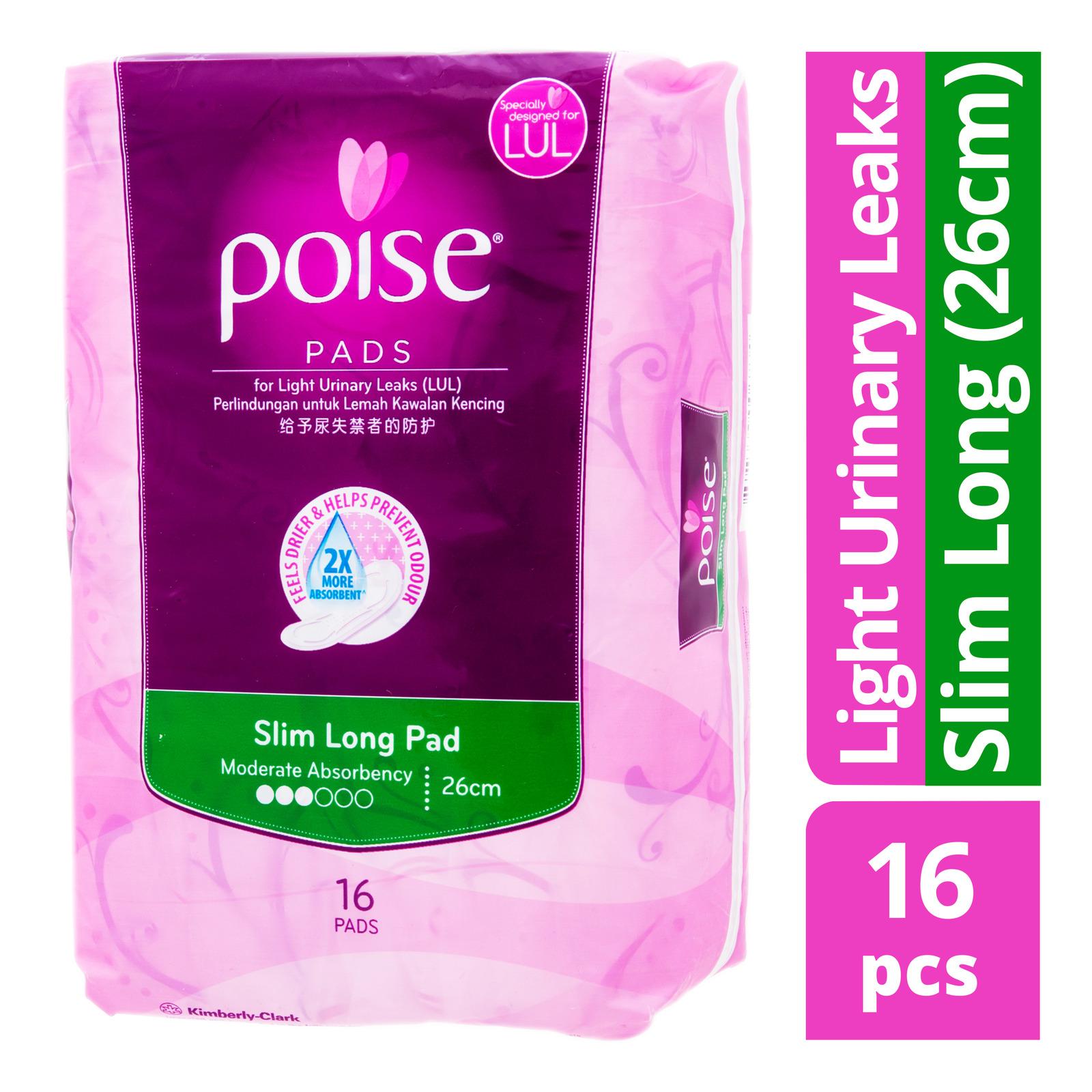 Poise Pads For Light Urinary Leaks - Slim Long (26cm)