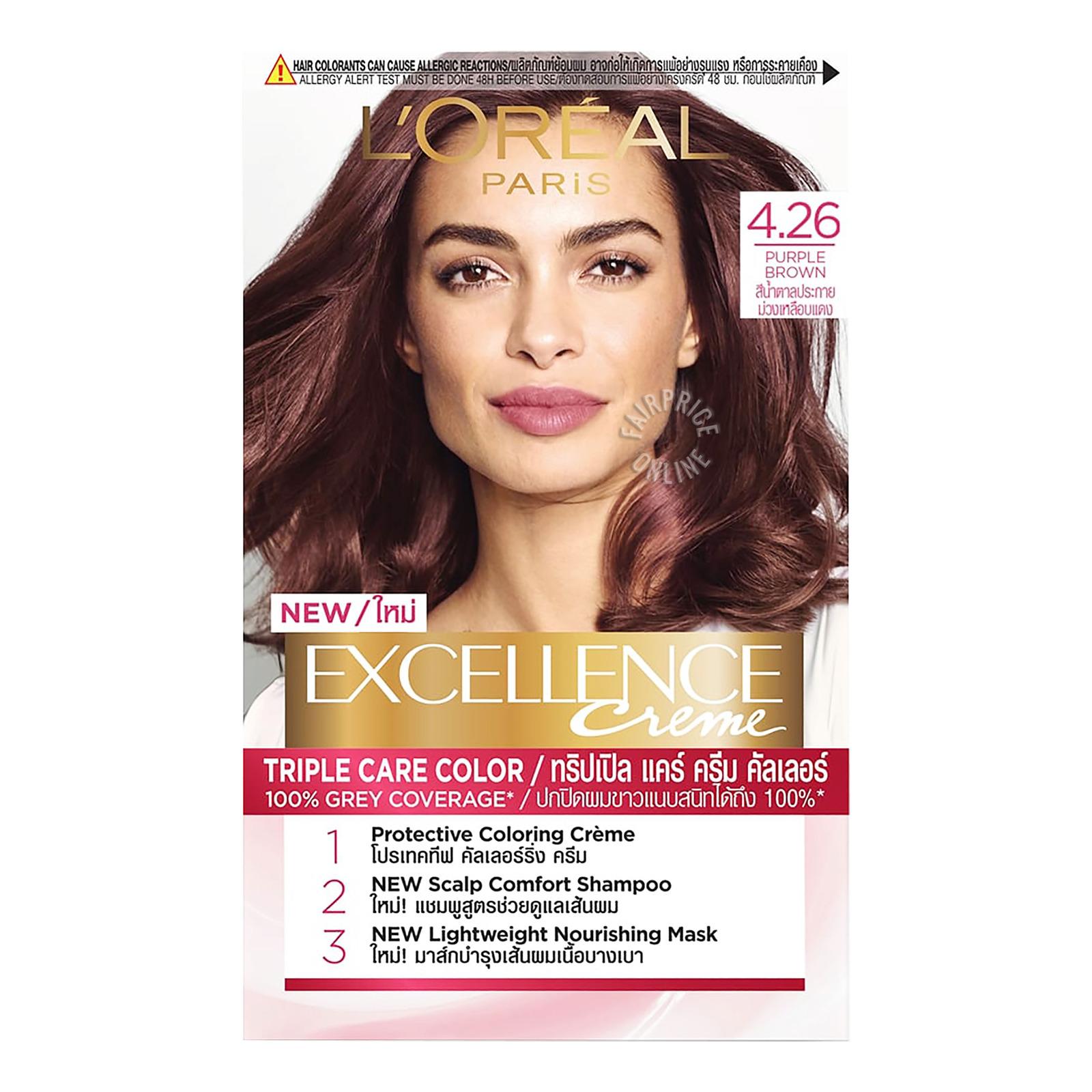 L'Oreal Paris Excellence Creme Hair Dye - 4.26 Purple Brown