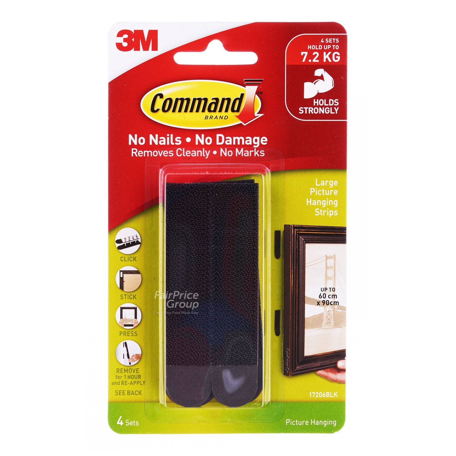 3M Command Picture Hanging Strips - Large (Black)