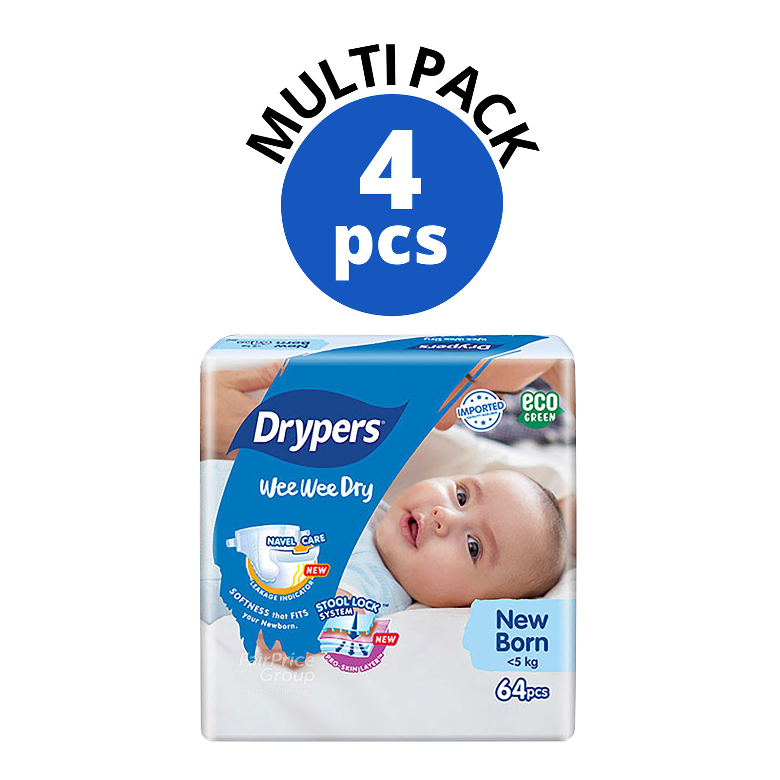 DRYPERS wee wee dry new born 24 pieces x 8 packs per carton