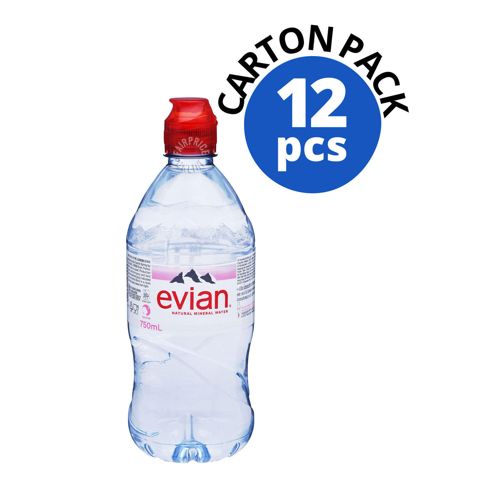 Evian Natural Mineral Bottle Water - Sports Cap