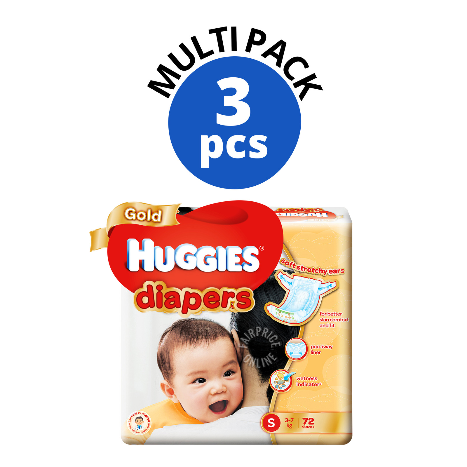 Huggies Gold Diapers - S (3 - 7kg)