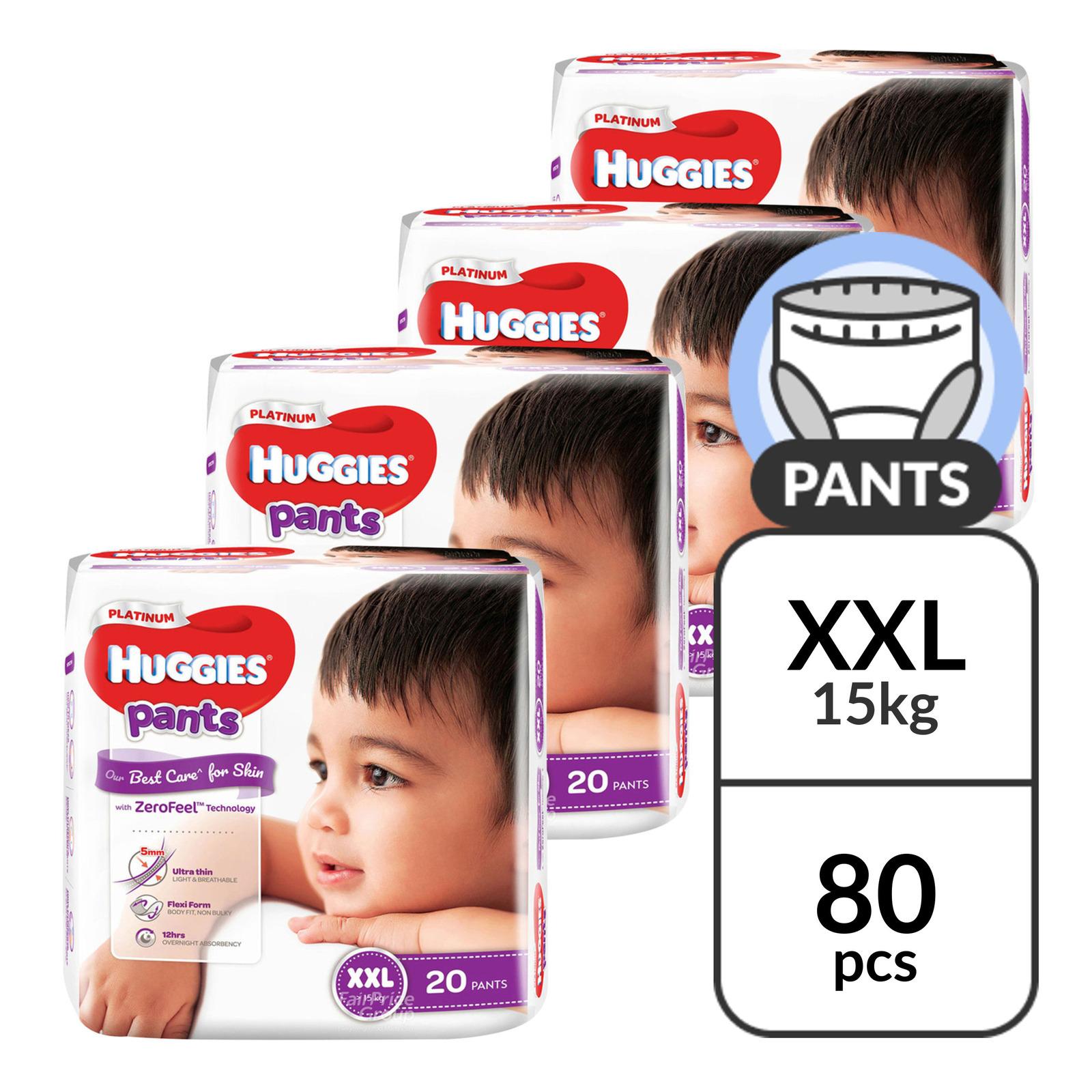 HUGGIES platinum pants xxl 20 pieces x 4 packs per carton