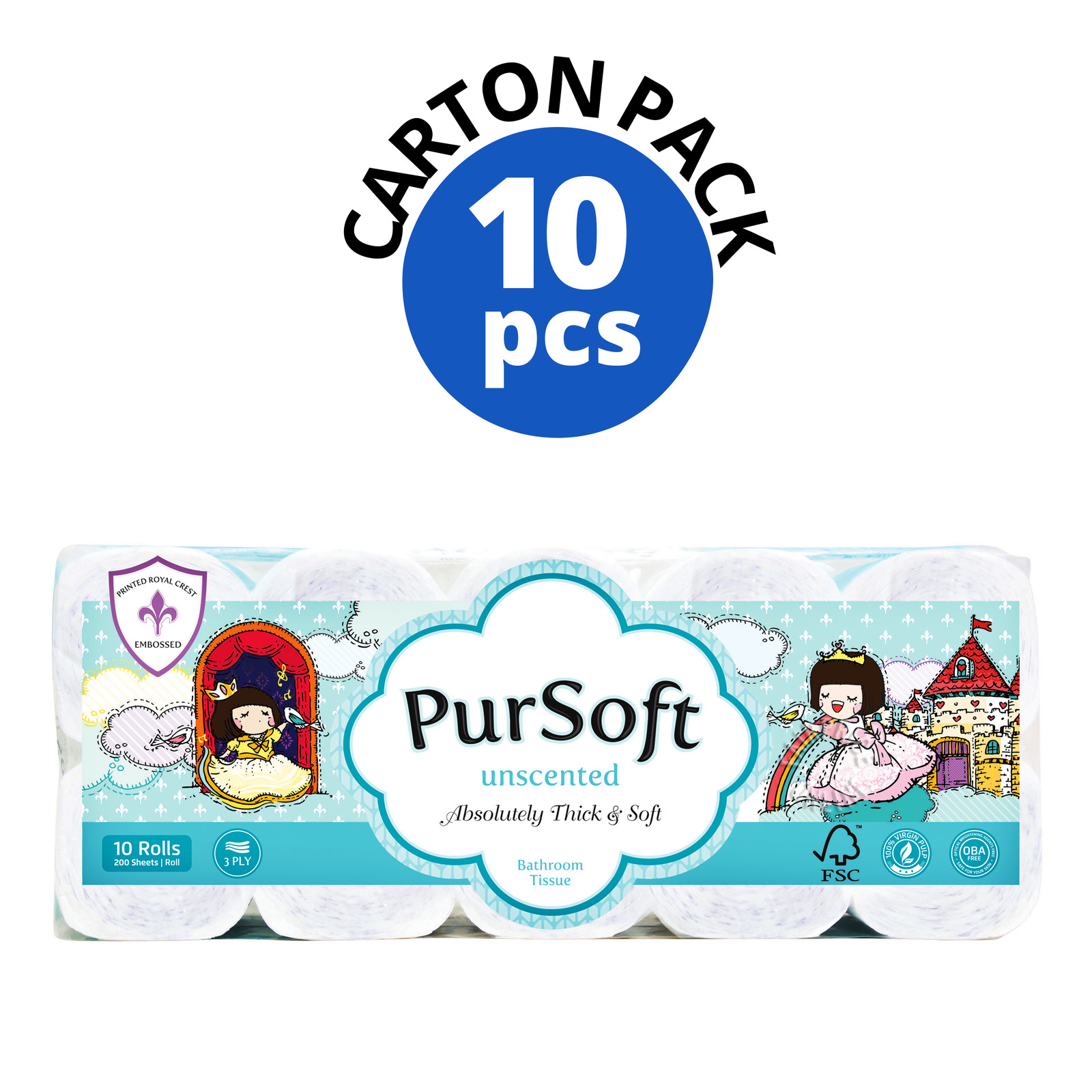 Pursoft Bathroom Tissue Roll - Unscented(3ply)