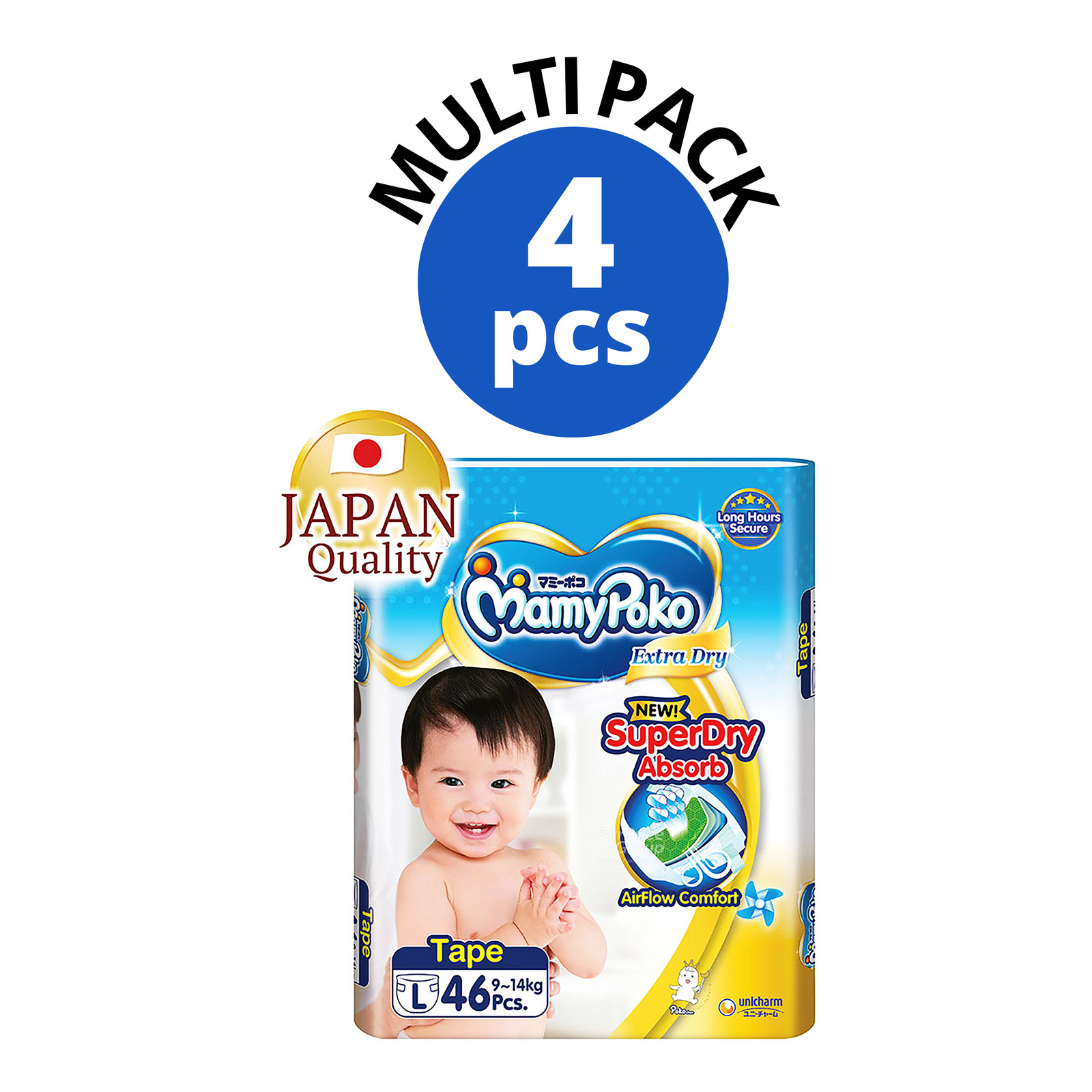 Pampers Baby Dry Tape Diapers - L (9-14kg) - Carton