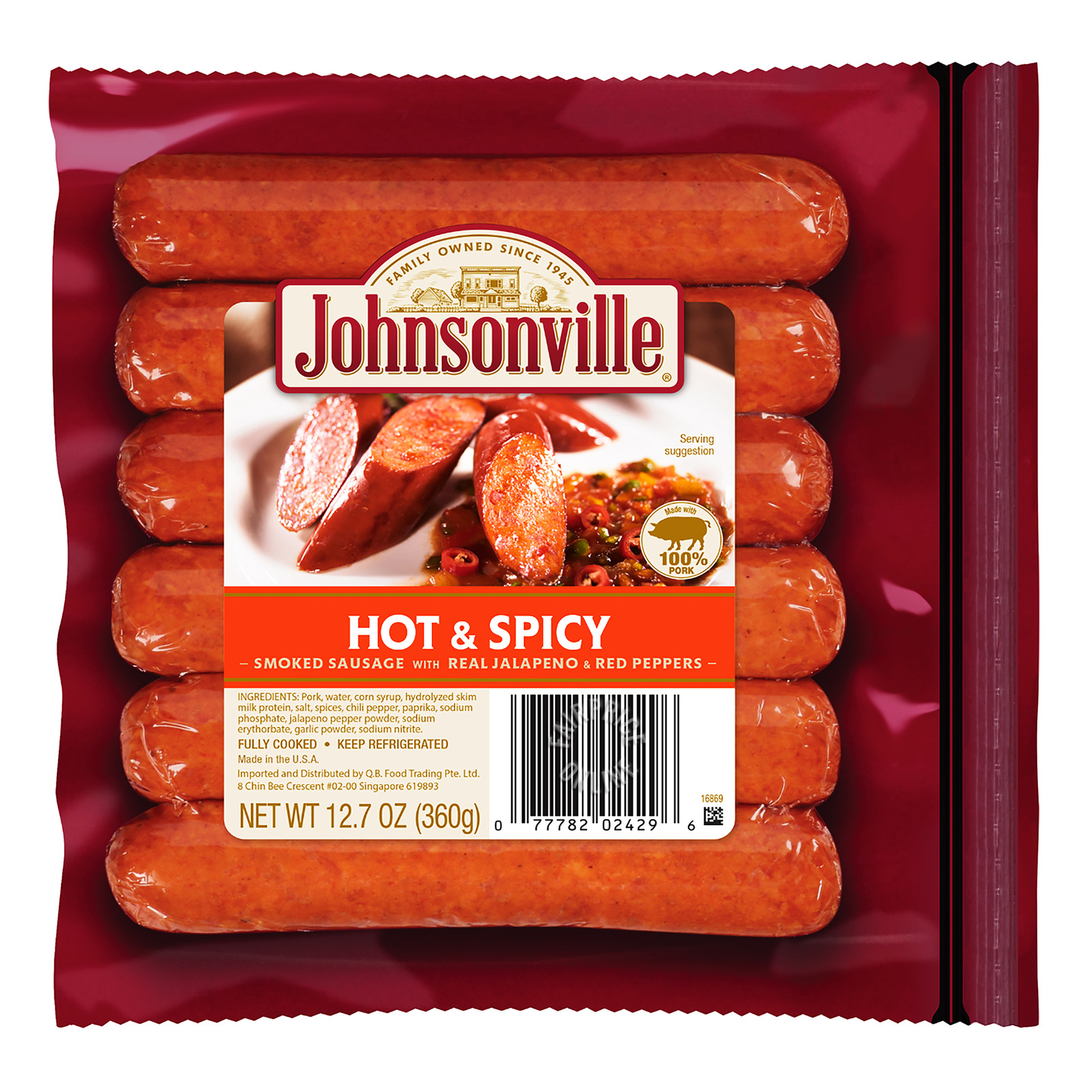 Johnsonville Smoked Pork Sausage - Hot & Spicy