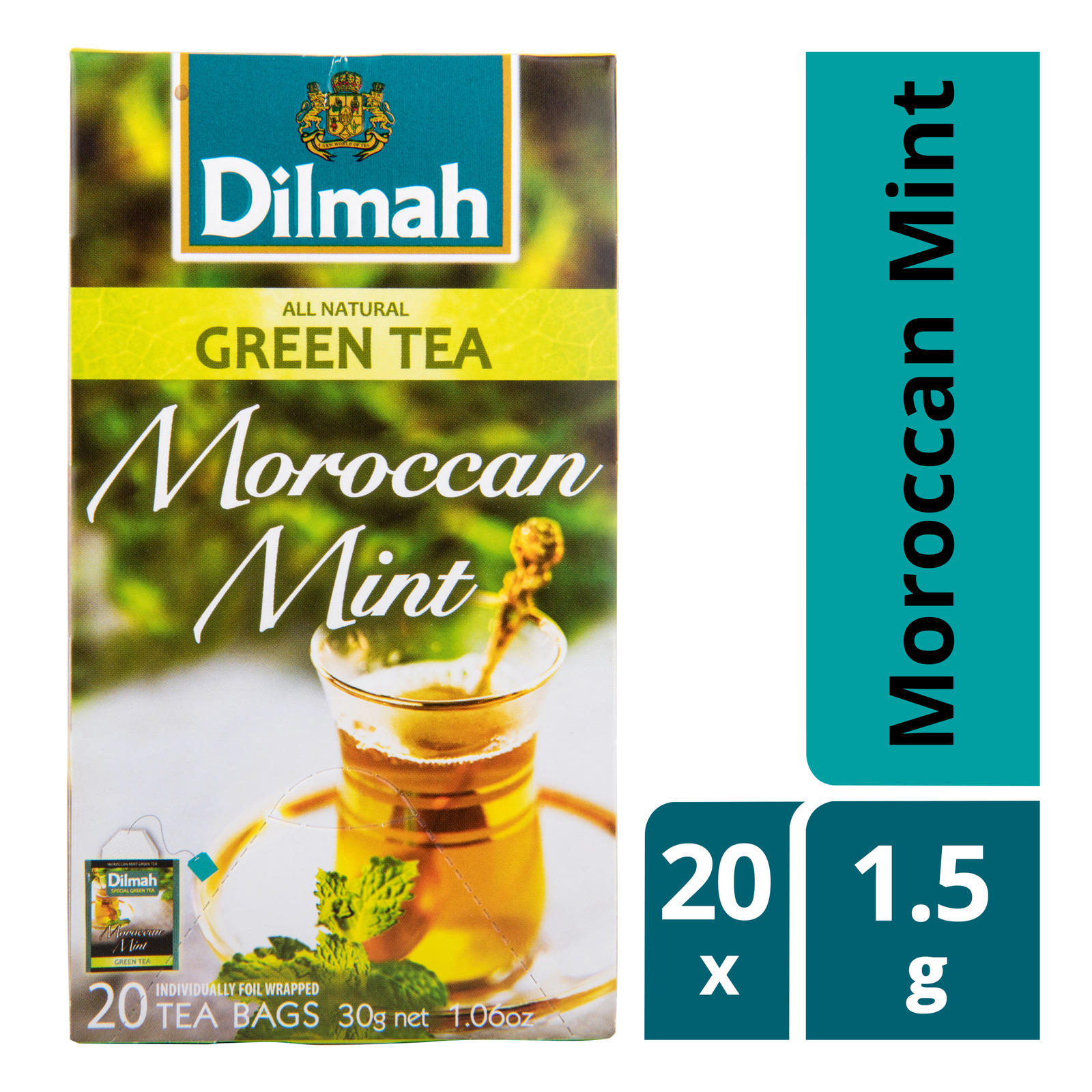 Dilmah Pure Ceylon Tea Bags - Moroccan Mint (Green Tea)