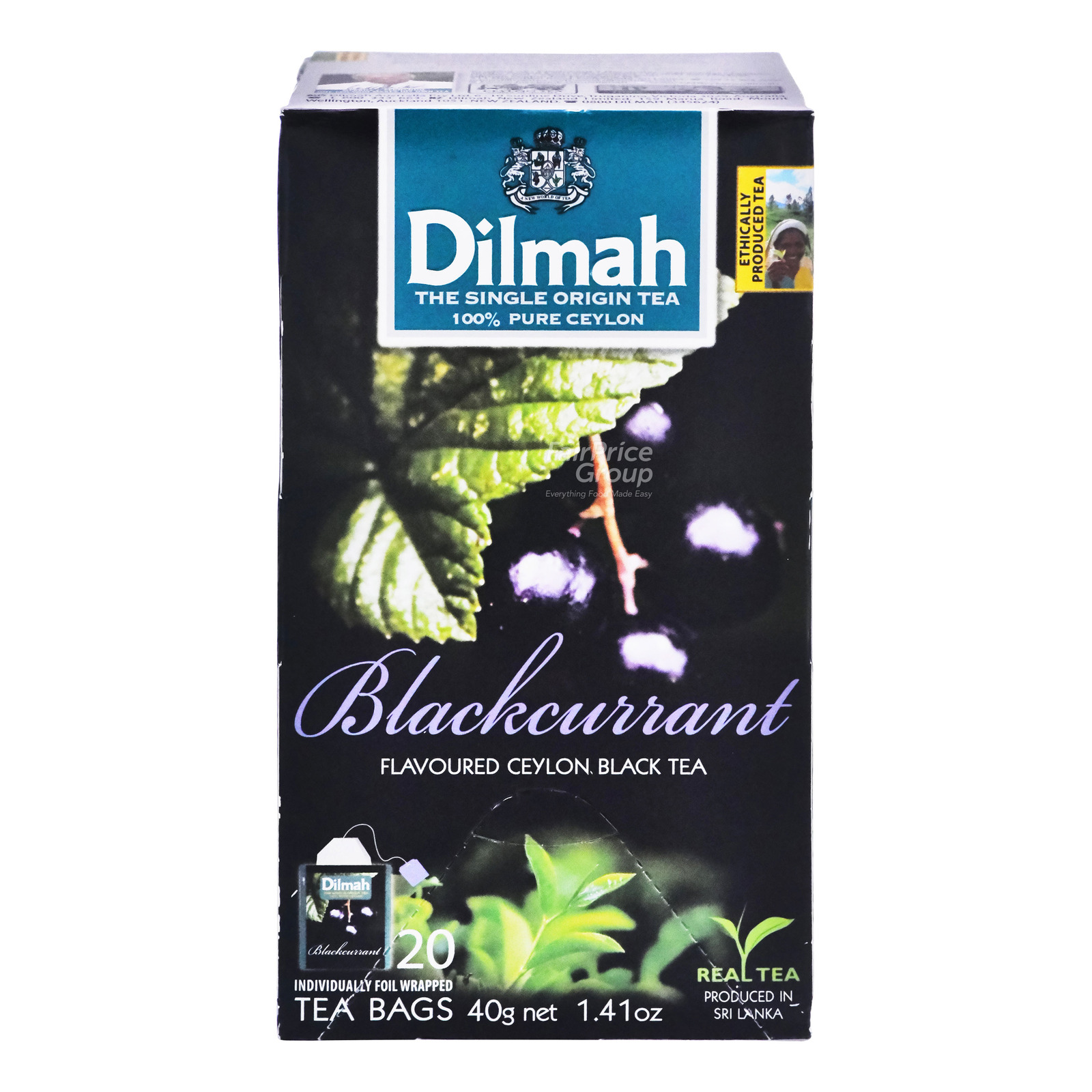 DILMAH Tea Bags - Blackcurrant Flavoured Ceylon BLack Tea 20sX2g