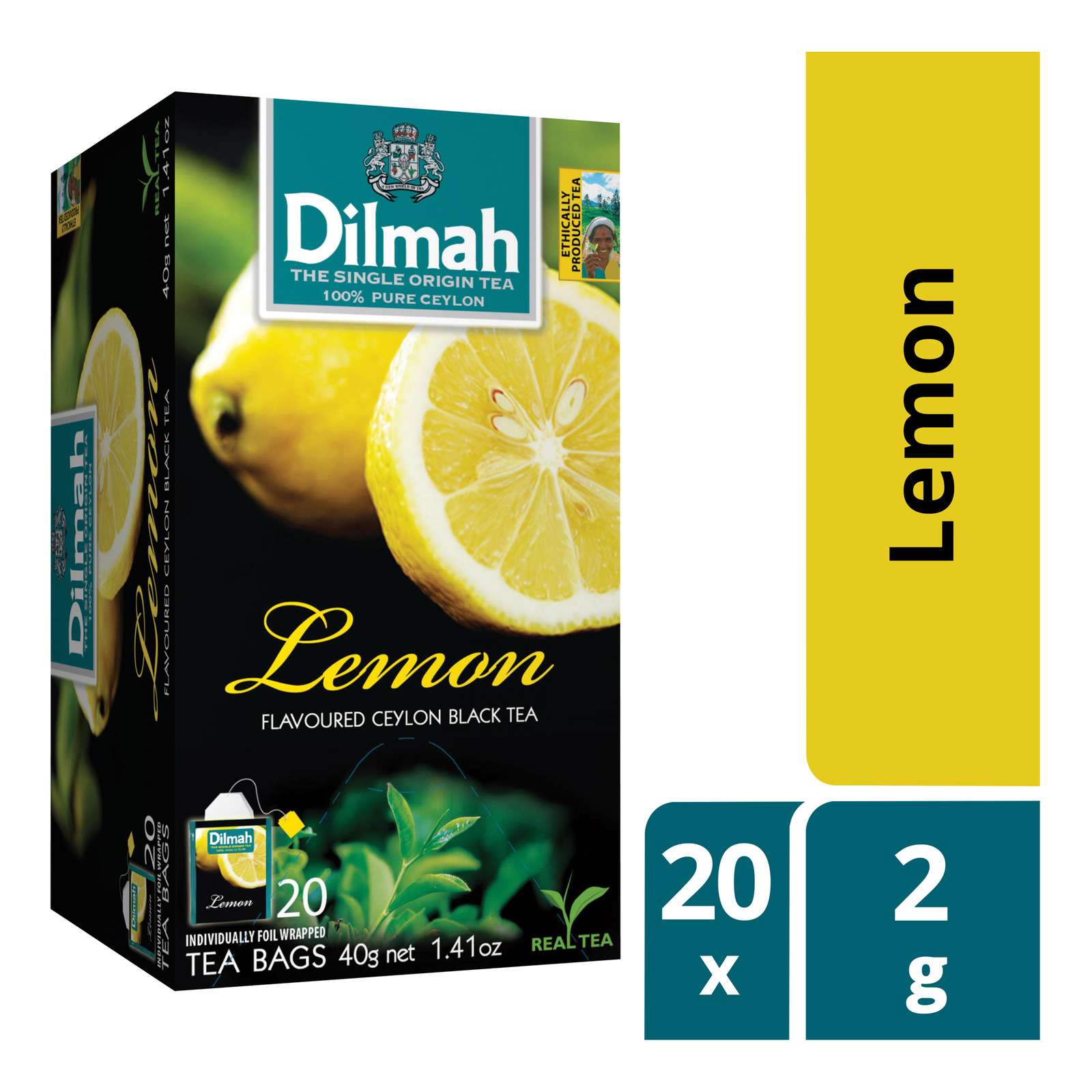 DILMAH Tea Bags - Lemon Flavoured Ceylon Black Tea 20sX2g