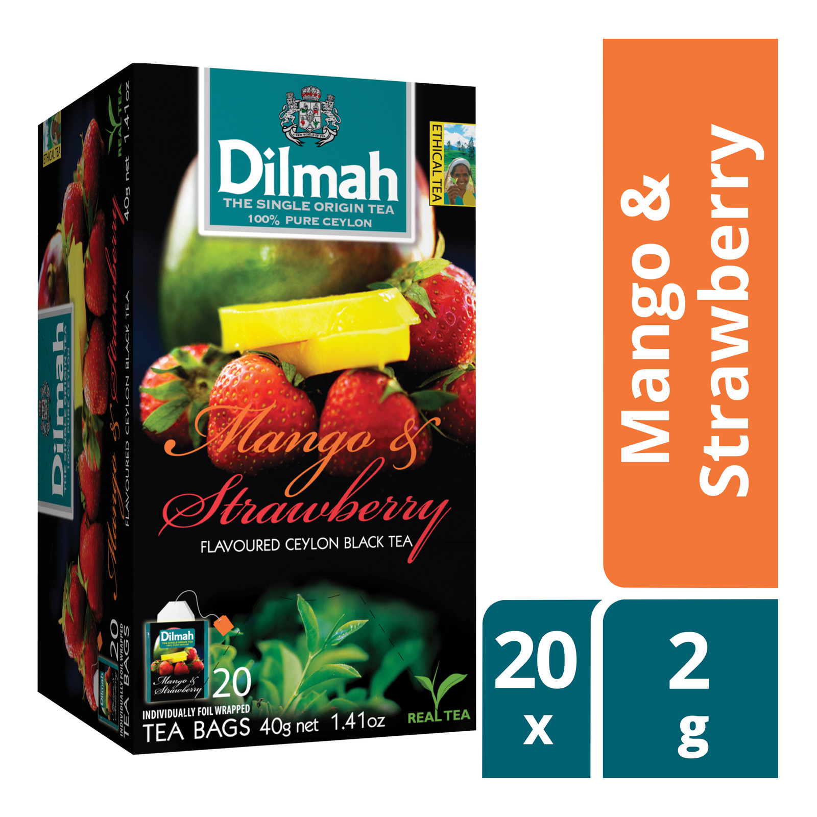 DILMAH Tea Bags - Mango & Strawberry Flavoured Ceylon Black Tea 20sX2g