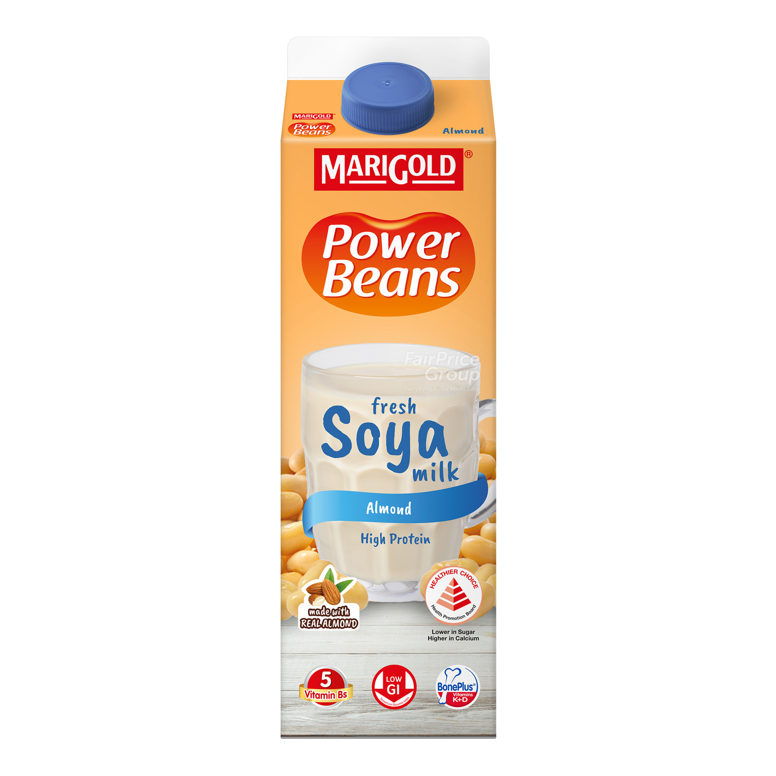Marigold Power Beans Fresh Soya Milk - Reduced Sugar Almond