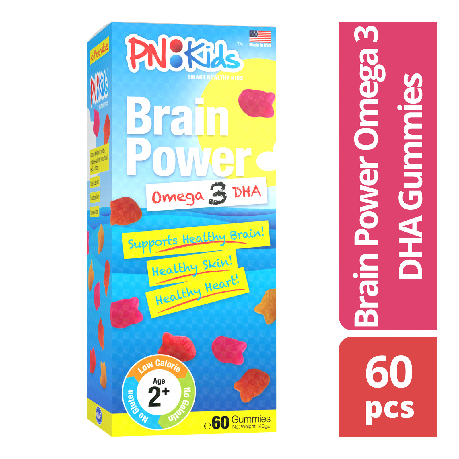 Principle Nutrition Kids Brain Power Omega 3 DHA, 60 Gummies