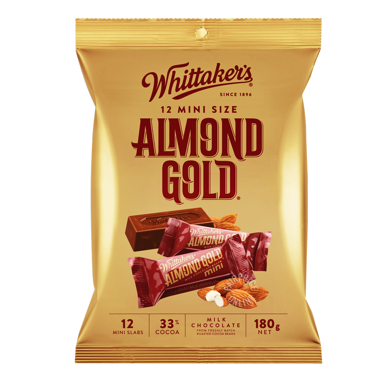 Whittaker's Mini Milk Chocolate Bar - Almond Gold