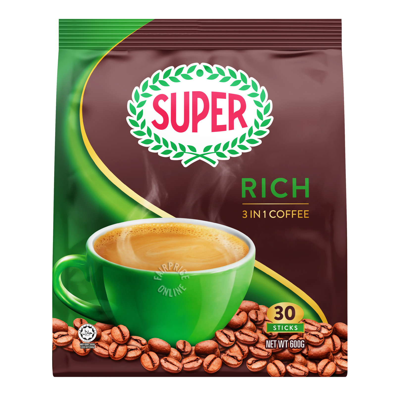 SUPER Instant Coffee 3-In-1 Low Fat (Rich) 30sX20g
